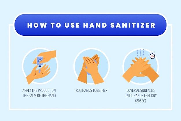 Como usar o tema infográfico desinfetante para as mãos