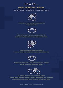 Como usar uma máscara infográfico de coronavírus