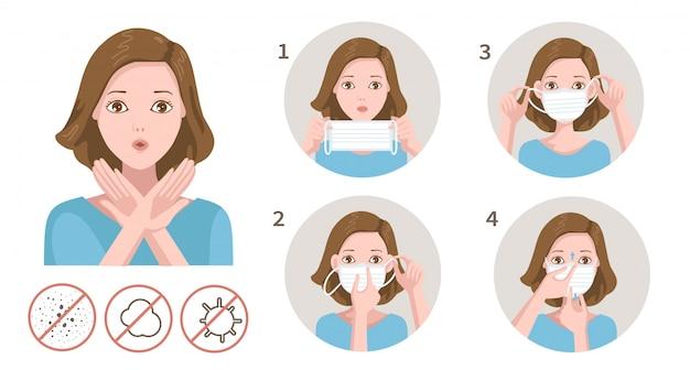 Como usar uma máscara. mulher mordaça com gesto de preocupação.