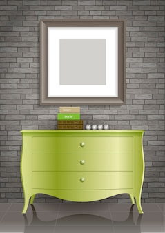 Cômoda verde e a foto