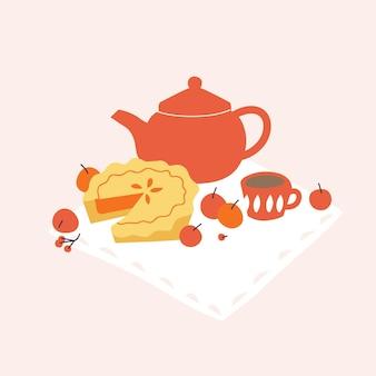 Comosição de ilustração vetorial com torta de maçã, bule de chá e maçãs. conceito de humor de outono.