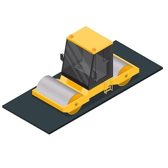 Compactador de asfalto em vista isométrica
