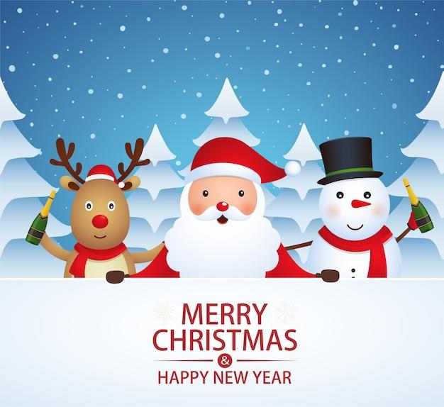 Companheiros de natal com champanhe em um fundo coberto de neve com árvores de natal. papai noel, boneco de neve, renas em fundo de inverno.