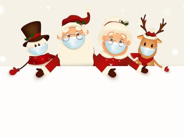 Companheiros de personagem de desenho animado de natal com grande tabuleta em branco