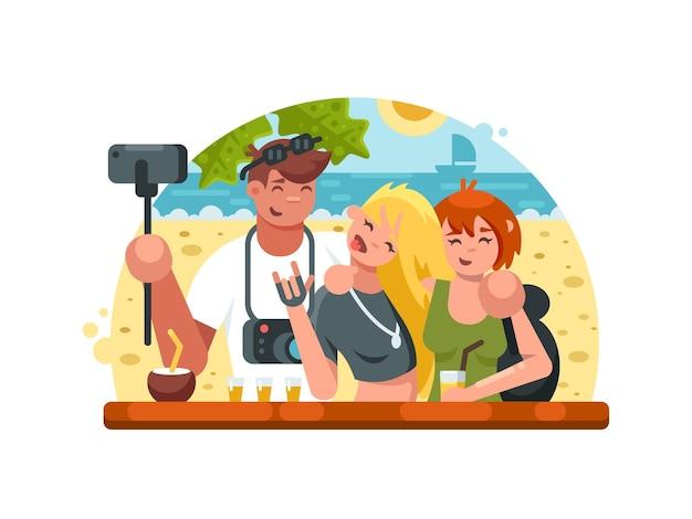 Companhia de amigos fazendo selfies em uma praia tropical. ilustração vetorial