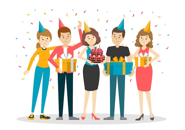 Companhia de pessoas na festa de aniversário. evento de celebração
