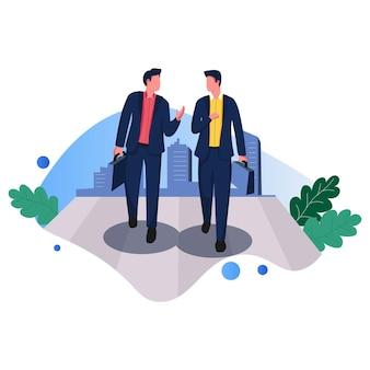 Companion entrepreneurs business vector illustration linha plana
