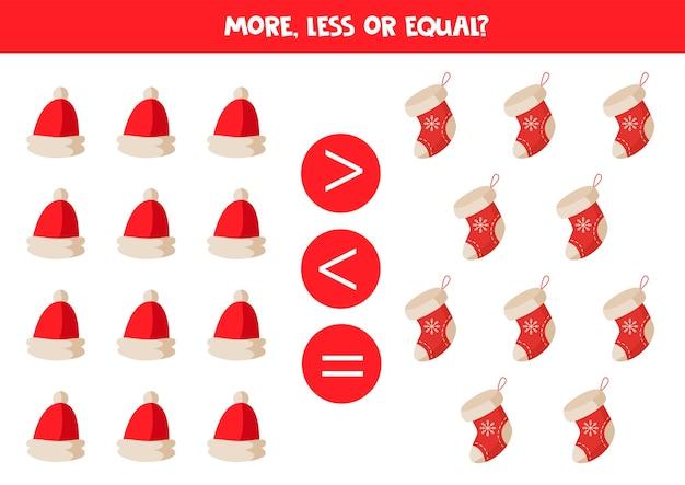 Comparação de objetos para crianças mais menos com bonés e meias de desenhos animados de natal