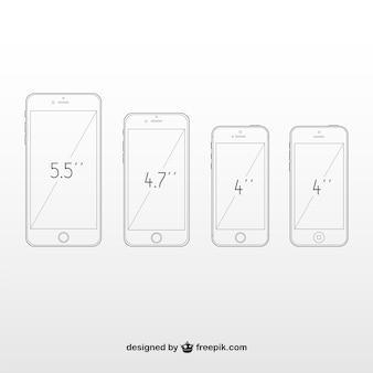 Comparação de tamanhos de telefones
