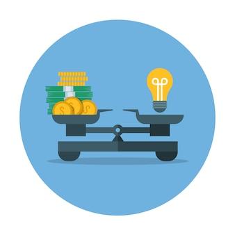 Comparação de valor monetário e idéia, conceito de vetor de medição de negócios