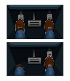 Comparação do pedal do acelerador do carro na ilustração do conceito do símbolo da transmissão matic e manual no desenho animado