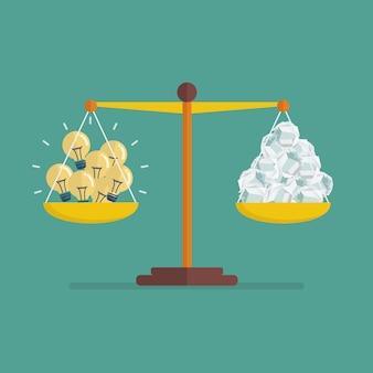 Comparação entre idéia brilhante e idéia de lixo na balança