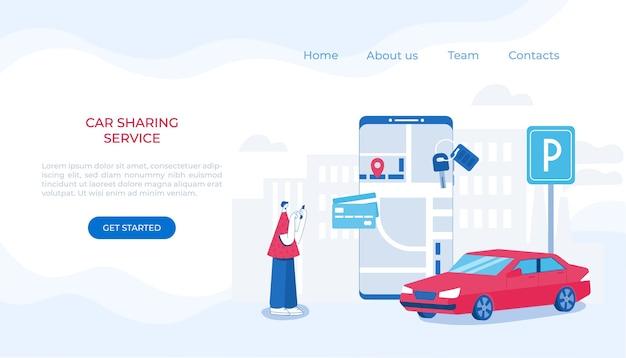 Compartilhamento de carro e conceito de serviço de táxi online. aplicativo móvel para alugar um carro e chamar um táxi