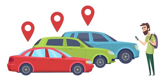 Compartilhamento de carro. homem à procura de veículo com app de smartphone. alugue um carro online