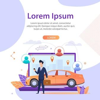 Compartilhamento de carro. serviços de pesquisa de viagens on-line. aplicativo. modelo