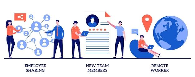 Compartilhamento de funcionários, novos membros da equipe, conceito de trabalhador remoto com pessoas minúsculas. conjunto de negócios modernos. comunicação corporativa, recrutamento de trabalhadores, trabalho a distância.