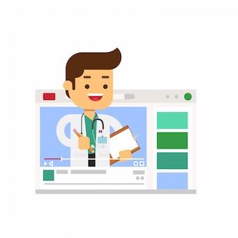 Compartilhamento de personagem médico cura a experiência através do vlog