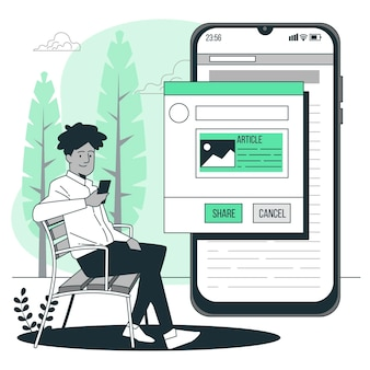 Compartilhando artigos de ilustração de conceito