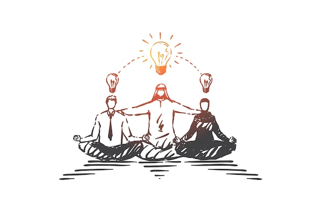 Compartilhando ideias criativas, fazendo brainstorming com a ilustração do esboço do conceito Vetor Premium
