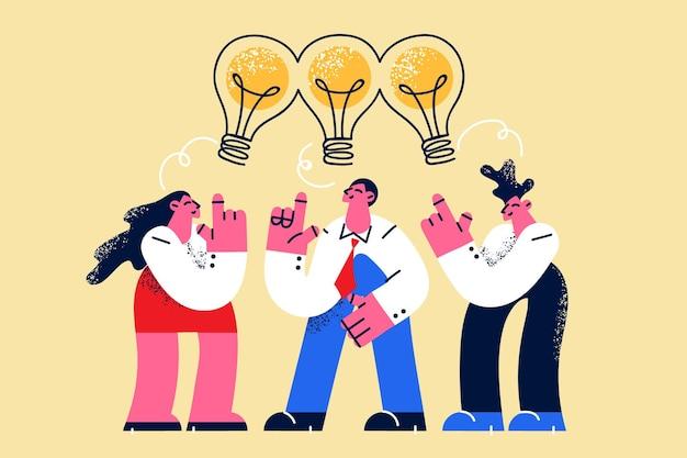Compartilhando ideias de conceito de colaboração em equipe
