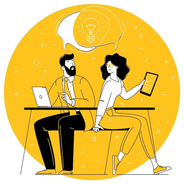 Compartilhando ideias de negócios, colaboração e trabalho em equipe
