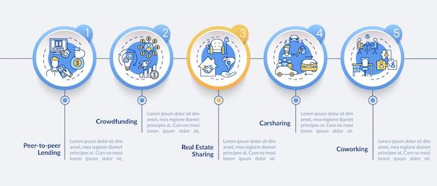 Compartilhando modelo de infográfico de economia. elementos de design de apresentação de modelos de negócios colaborativos. visualização de dados em cinco etapas. gráfico de linha do tempo do processo. layout de fluxo de trabalho com ícones lineares