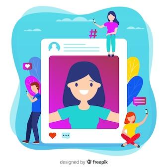 Compartilhando selfies na ilustração de mídia social