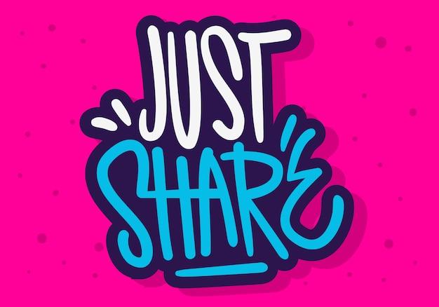 Compartilhar etiqueta sinal logotipo mão desenhada pincel letras tipo caligrafia