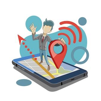 Compartilhar localização usando gps Vetor Premium