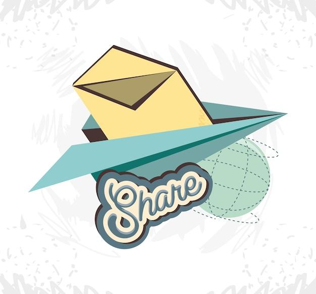 Compartilhar mídia social com avião de papel