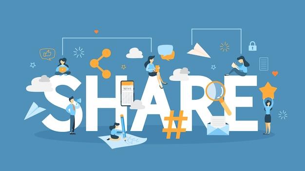 Compartilhe a ilustração do conceito. idéia de envio de conteúdo.