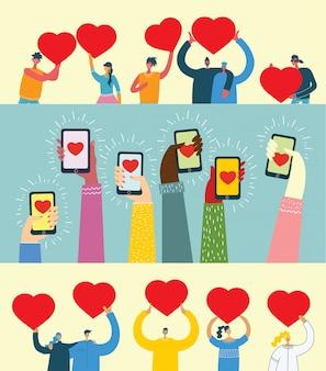 Compartilhe seu amor. mãos com corações como massagens de amor. ilustração vetorial para o dia dos namorados no estilo plano