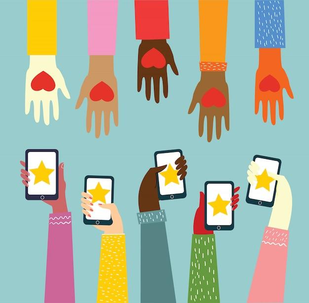 Compartilhe seu amor. mãos com corações e telefones com corações como massagens de amor. ilustração vetorial para o dia dos namorados no estilo plano