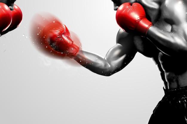Competição de boxe em tom cinza, estilo 3d