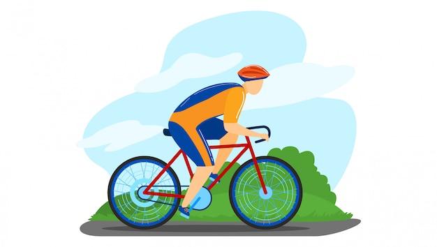 Competição de competência da bicicleta masculina do torneio do caráter do veículo com rodas isolada no branco, ilustração dos desenhos animados. treinamento de ciclista ao ar livre.