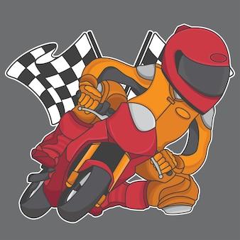 Competição de corrida de moto mini design