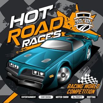 Competição de corridas de carros de rua, ilustração vetorial de carro