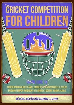 Competição de críquete para crianças