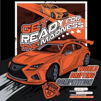 Competição de drift mundo, ilustração vetorial de carro