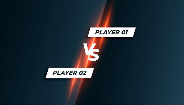 Competição de esporte ou jogo versus vs tela de fundo