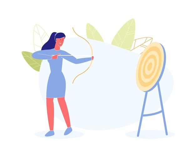 Competição de esportes de tiro com arco de mulher,