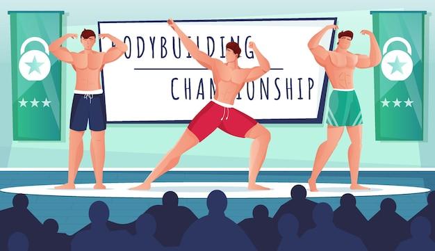 Competição de fisiculturismo mostra composição plana com visão de atletas posando no palco com silhuetas de audiência