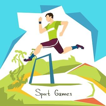 Competição de hurdle correndo competição de esporte de atleta