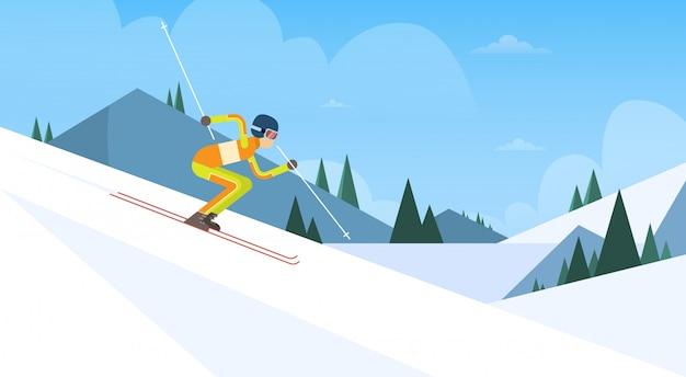 Competição de inverno de esqui de atleta