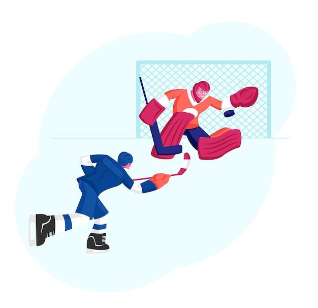 Competição de jogo de hóquei na pista de gelo. ilustração plana dos desenhos animados