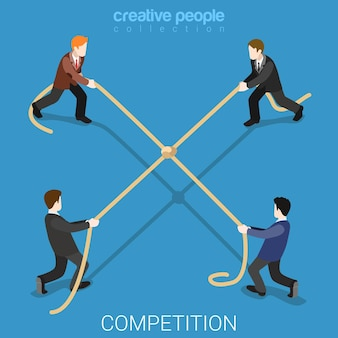 Competição de negócios empate plano isométrico