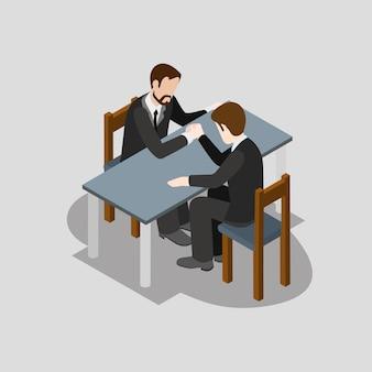 Competição de negócios isométrica 3d plana