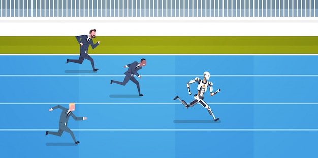 Competição de robôs com funcionários humanos correndo conceito de inteligência artificial e futuros carros