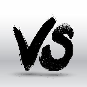 Competição de símbolos vs. versus letras de pintura de pincel de texto.