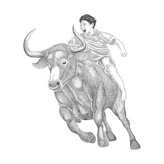 Competição de touros ou corrida de bufallo